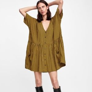 NWOT Zara yellow plaid dress